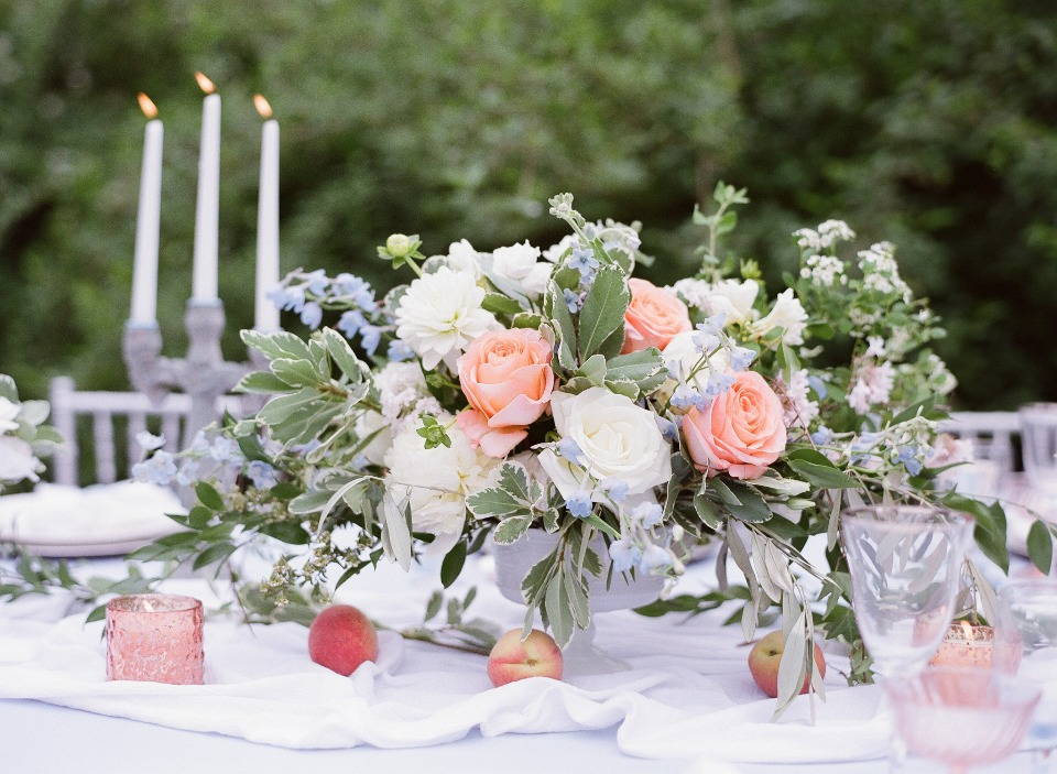 peach white and light blue centerpiece