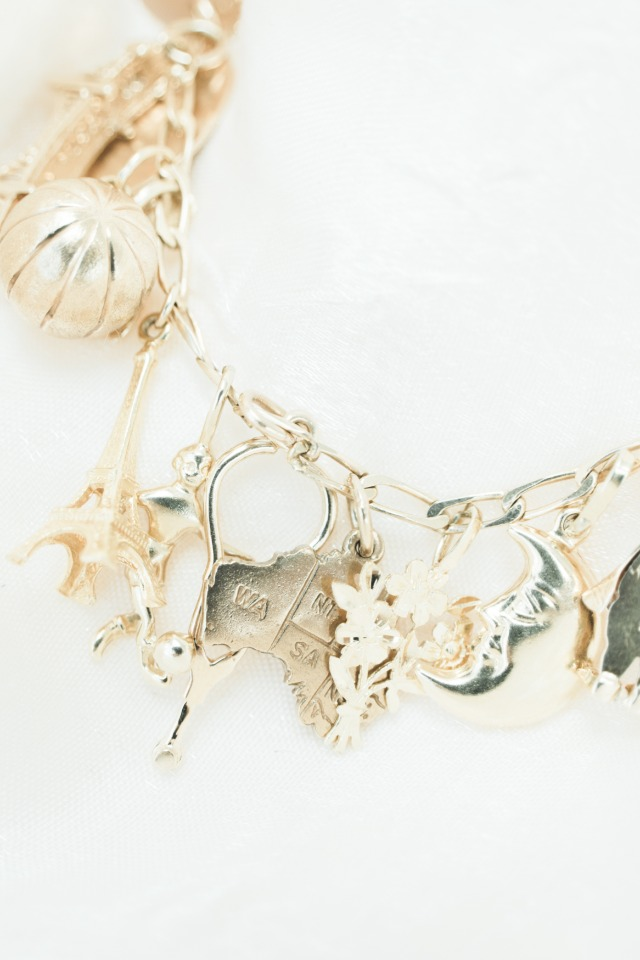 gold charm bracelet wedding jewelry