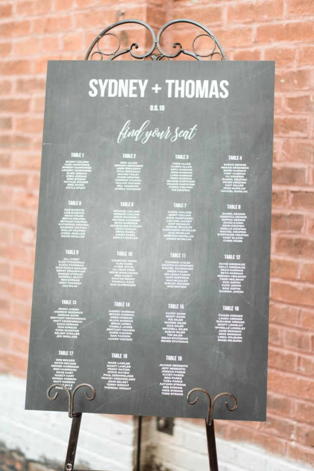 chalkboard style seating assignment
