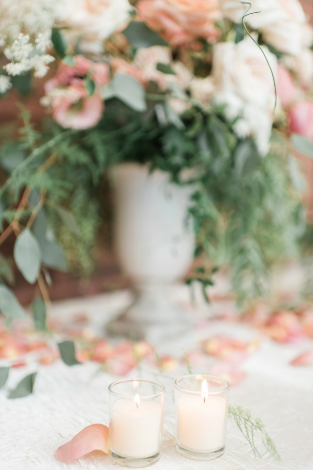 Fresh flowers and flower petals add a romantic vibe