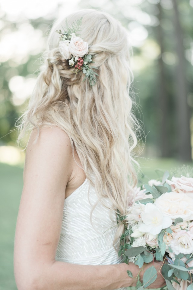 half up wedding hair with flower accents