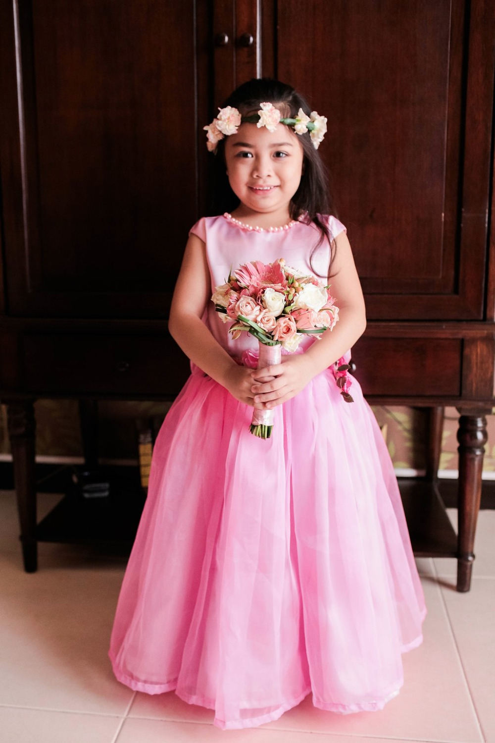 hot pink flower girl dress