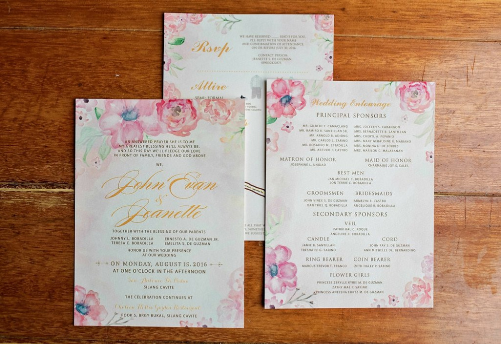 pink floral wedding invites