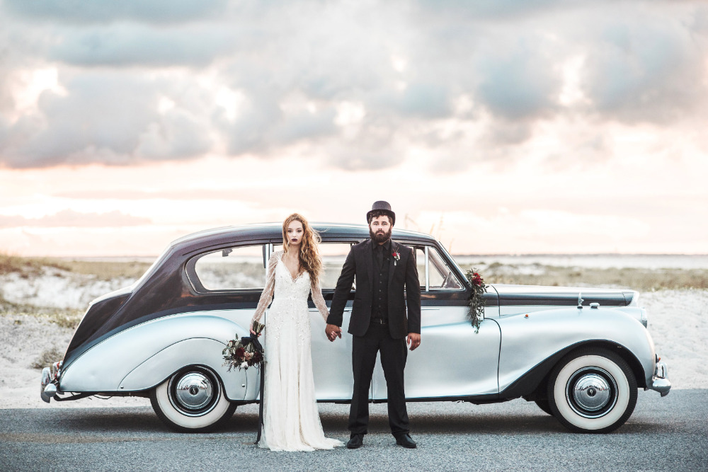 vintage wedding car for halloween wedding