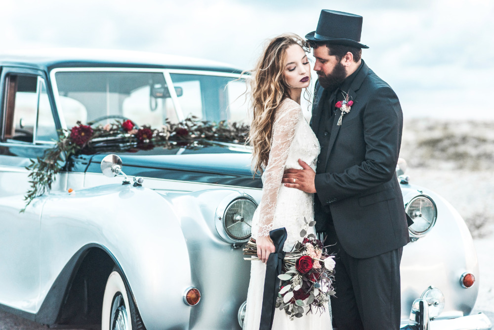 vintage car wedding shoot