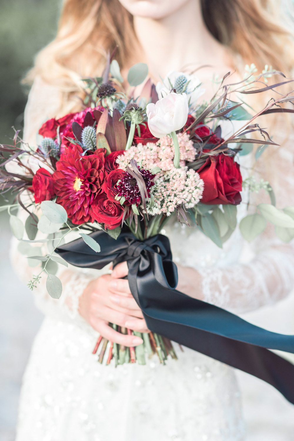 black and red wedding bouquet