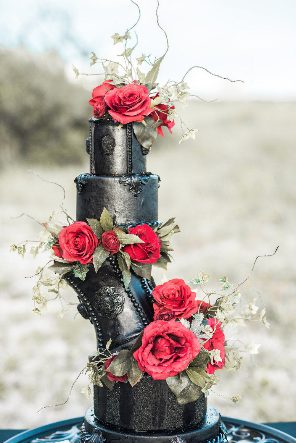 black and red twisted wedding cake