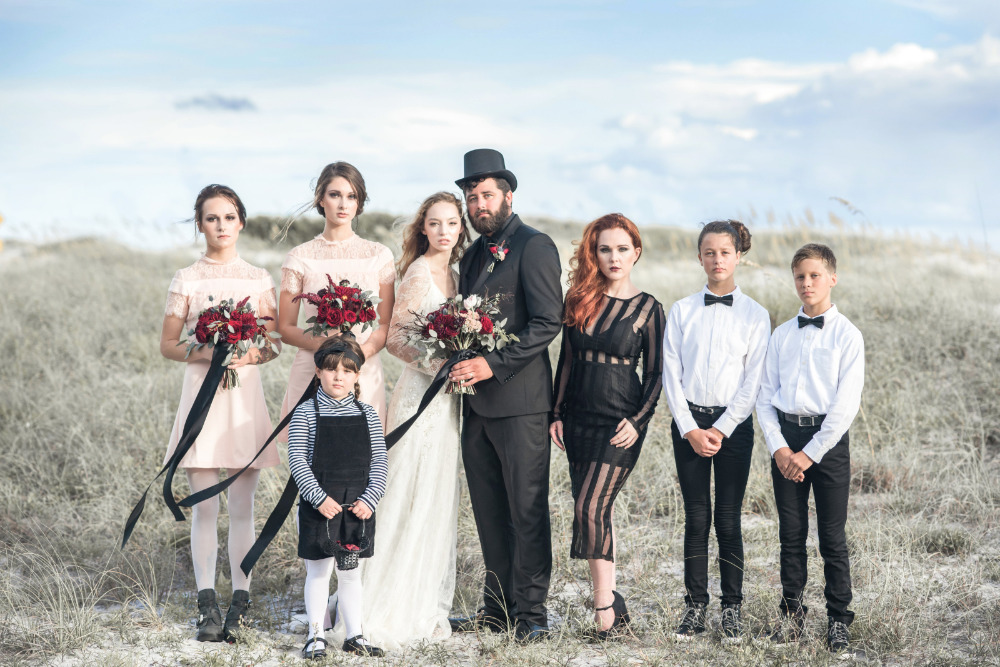 black and red wedding party inspiration