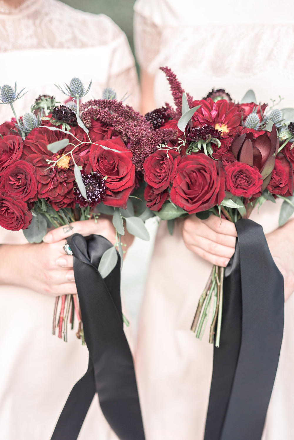beautiful red rose bridesmaid bouquets