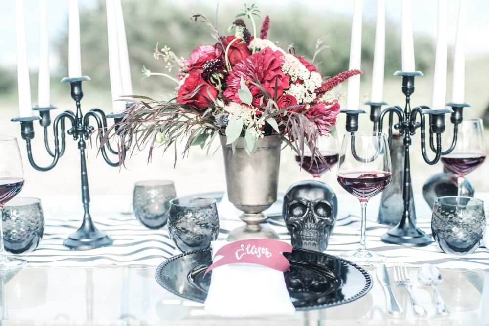black and red halloween ewdding reception