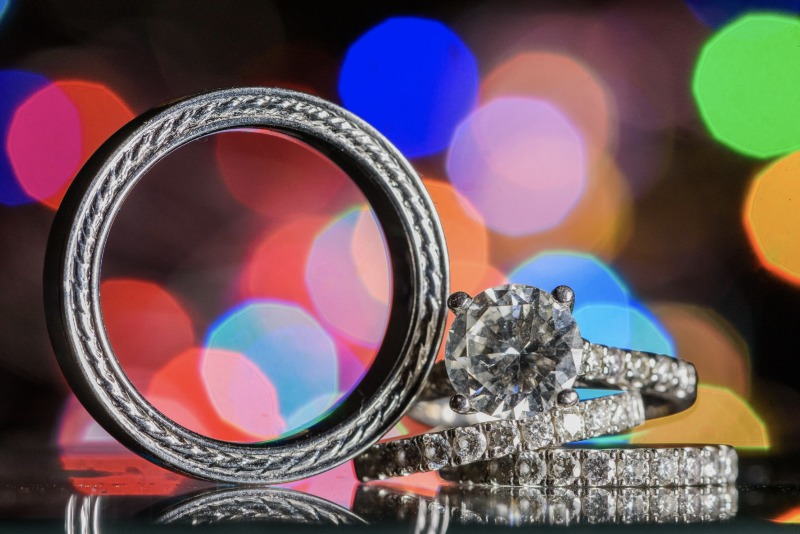 We love to take your wedding rings and use unique lighting and items to really showcase your new bling!