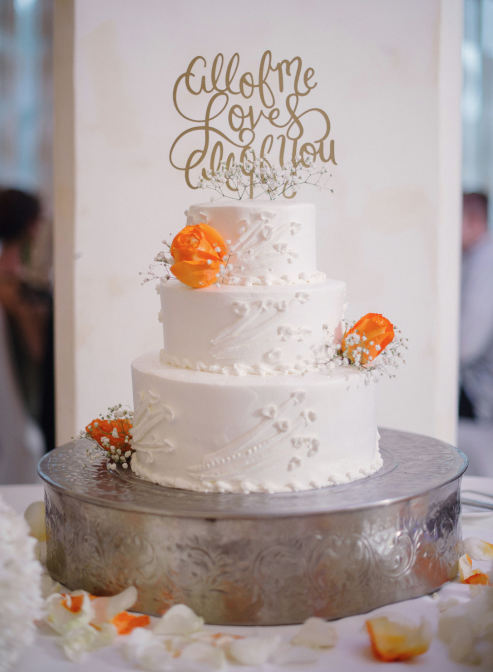 orange and white wedding cake