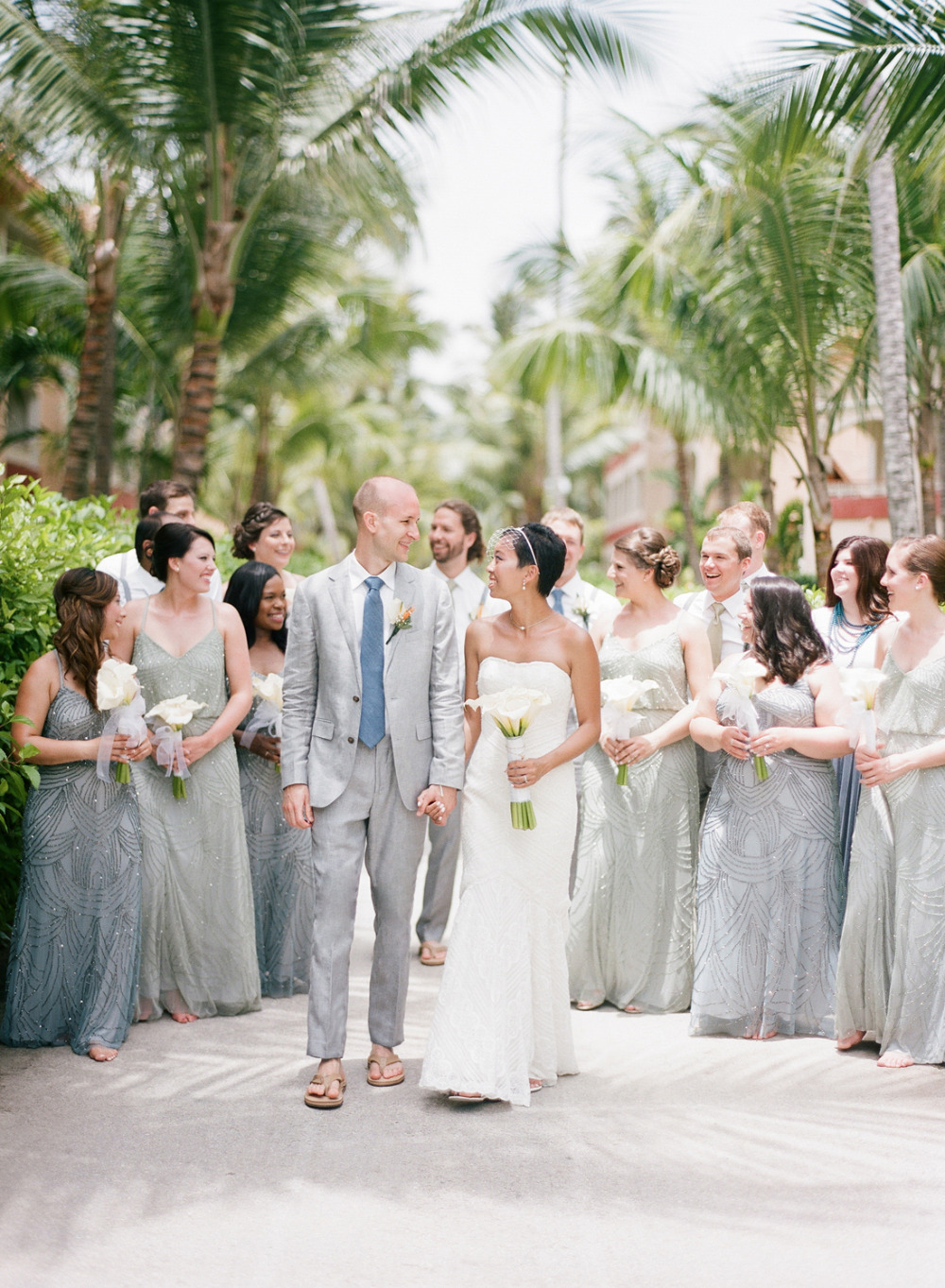 blue and green wedding party attire