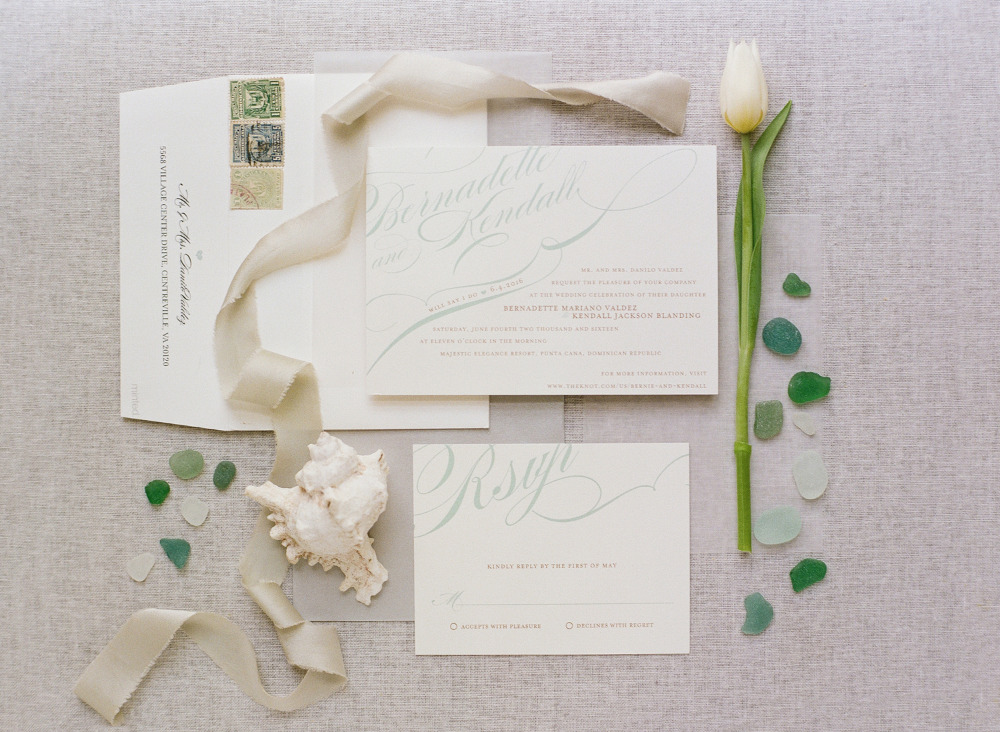 mint and ivory wedding invites from Minted