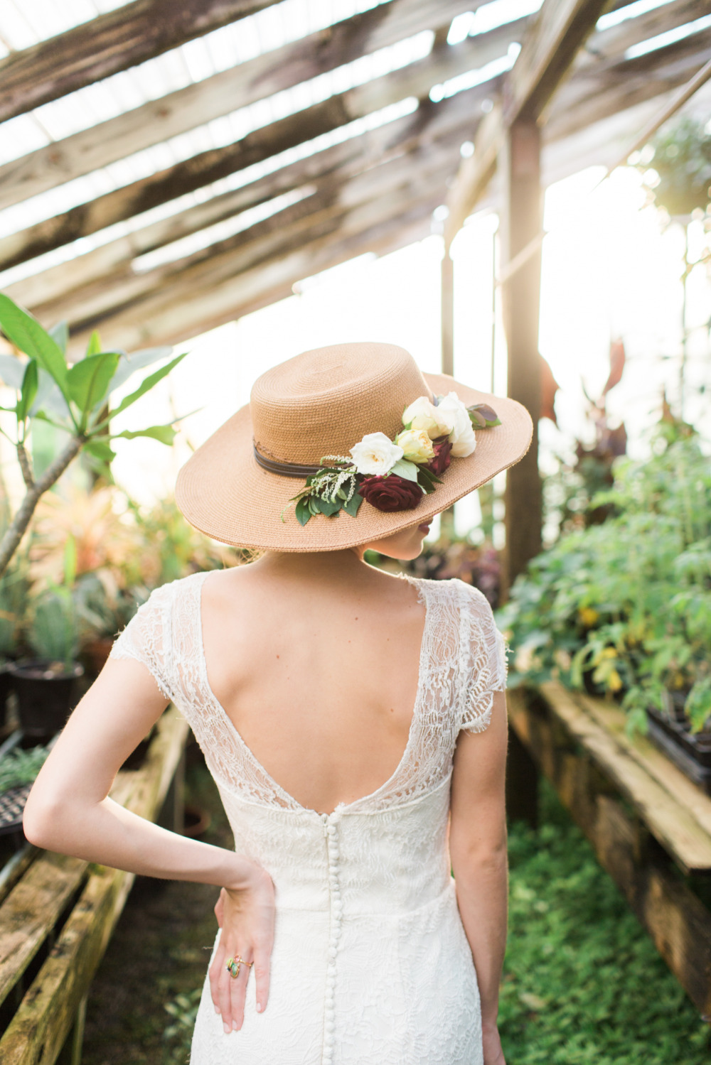 garden hat wedding attire