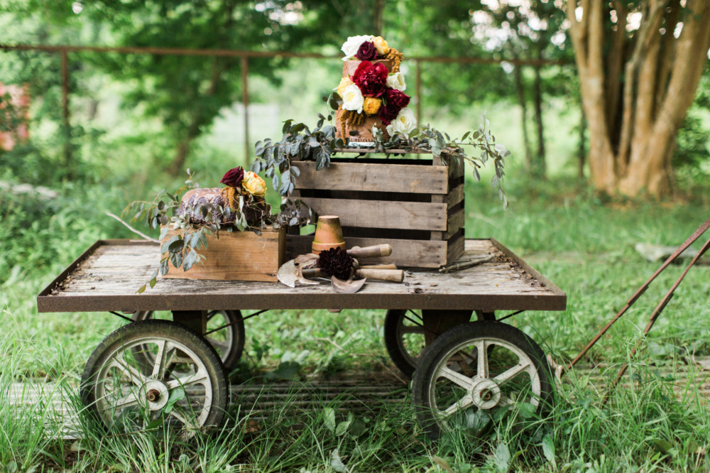 garden cart wedding dessert table