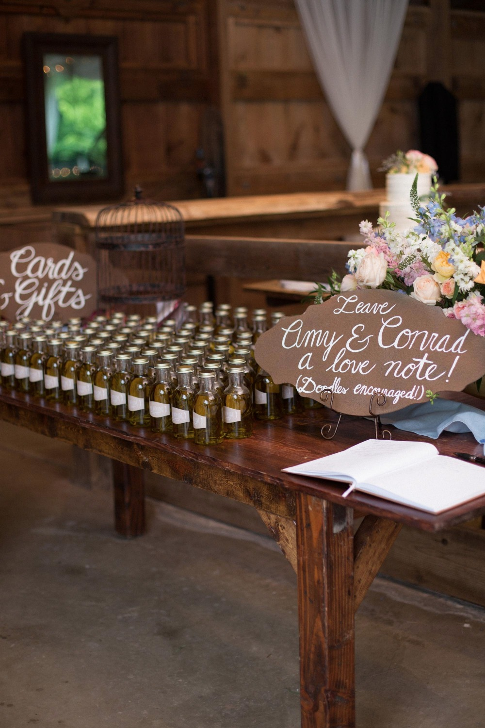 Bottles of olive oil wedding favors