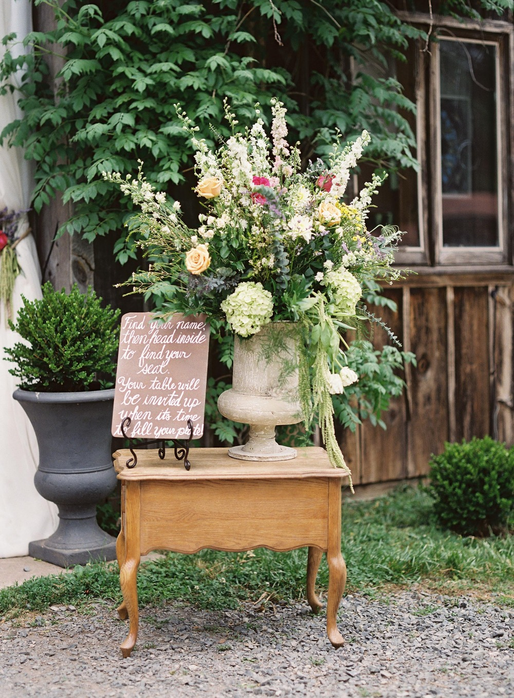 Giant florals and wedding sign