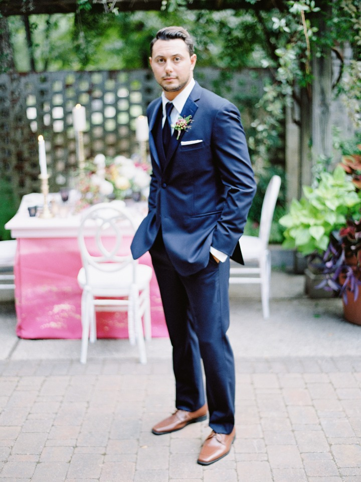 blue suit groom with brown shoes