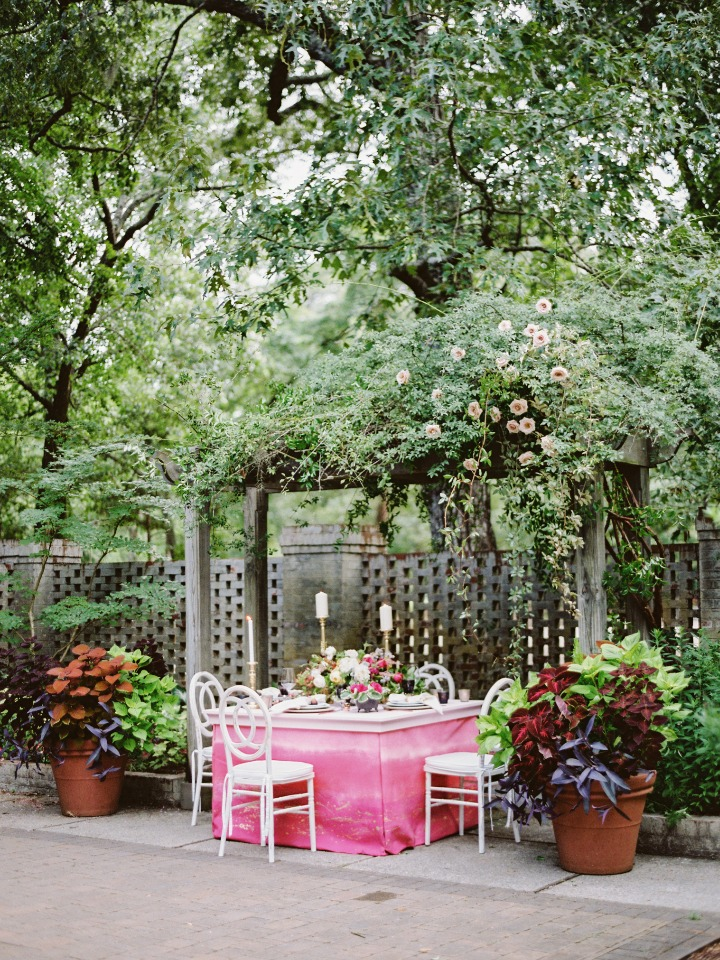pink garden wedding table