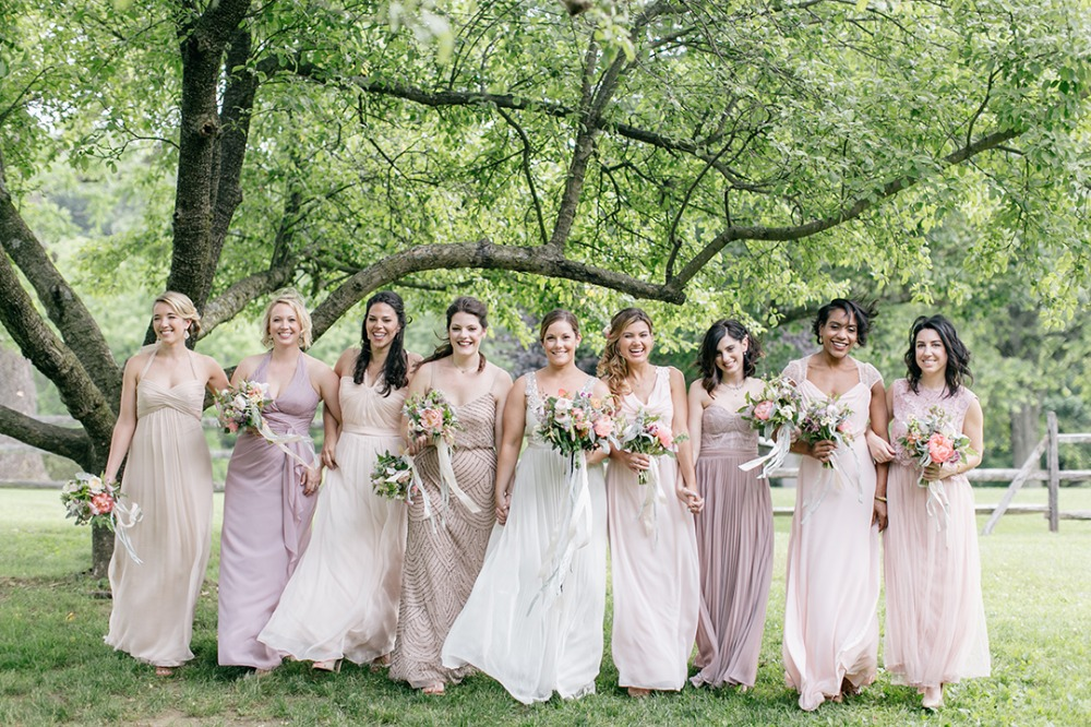 Bridesmaids in shades on blush