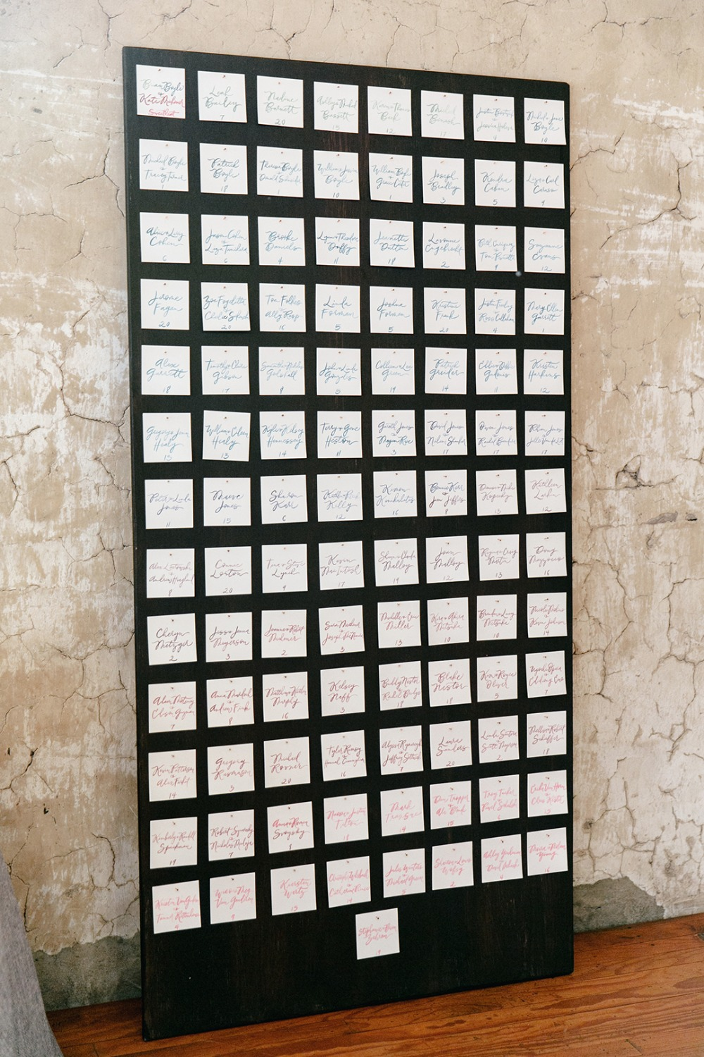 Simple calligraphy seating chart