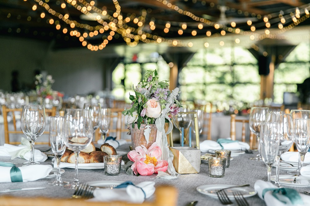 Floral centerpiece with twinkle lights