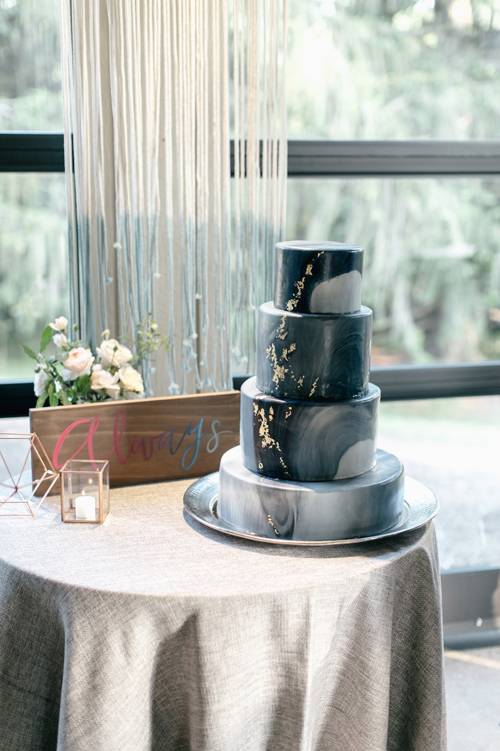 Geode wedding cake with gold foiling