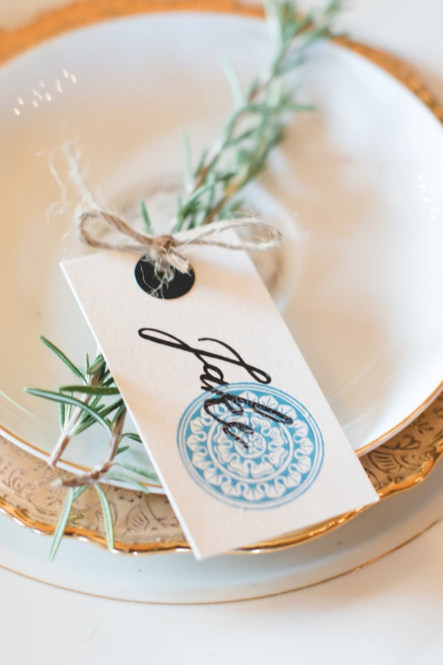 Custom wedding place card tag
