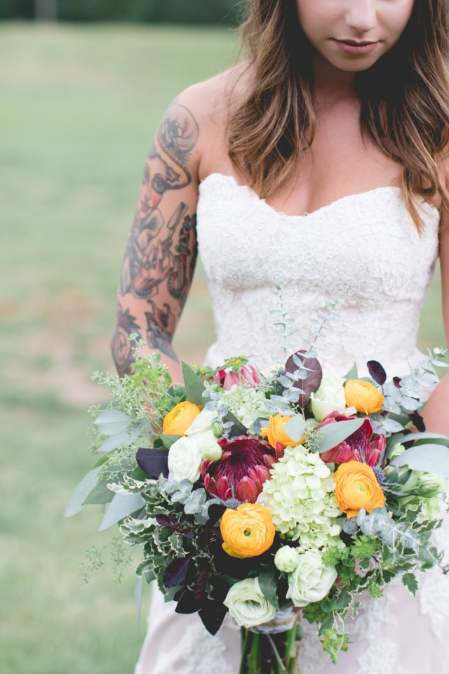 Yellow red and green bouquet
