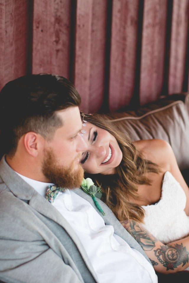 Cute candid wedding portrait