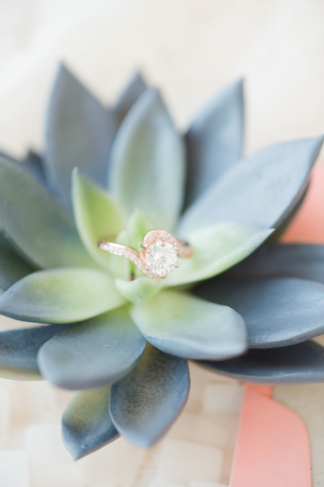 succulent and wedding ring