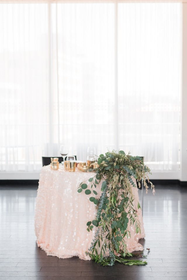 soft blush sequin linen for the sweetheart table