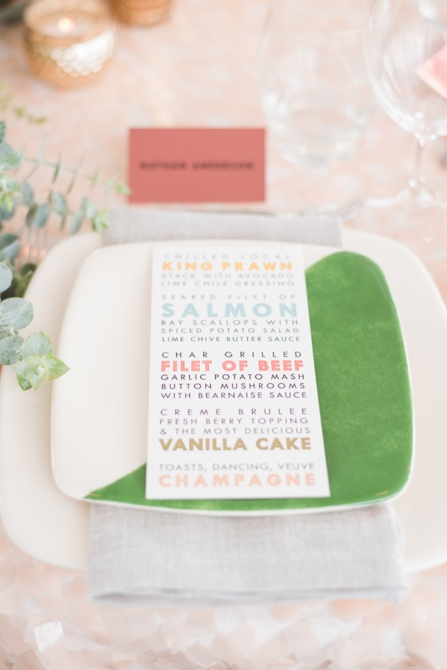 color blocked modern place setting