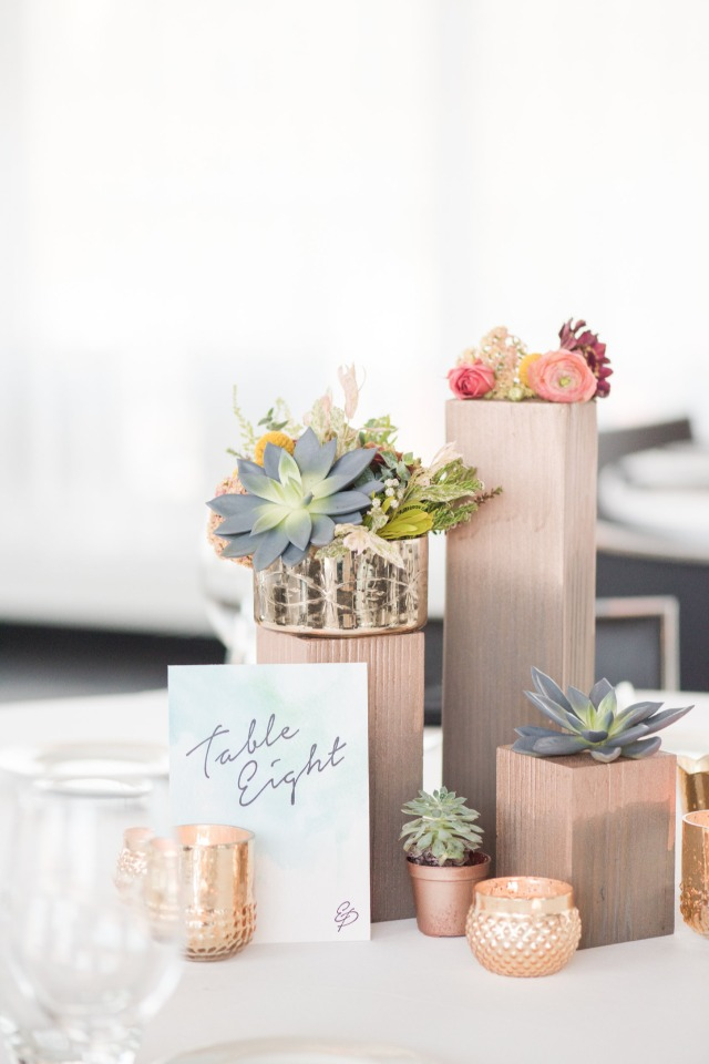 modern table number with gold and rose gold centerpiece