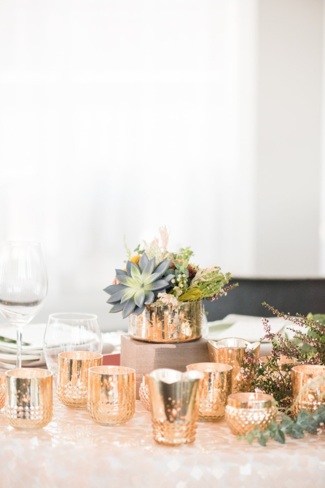 gold and succulent wedding centerpiece