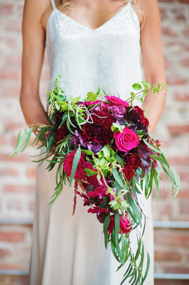 hot pink and deep berry wedding bouquet