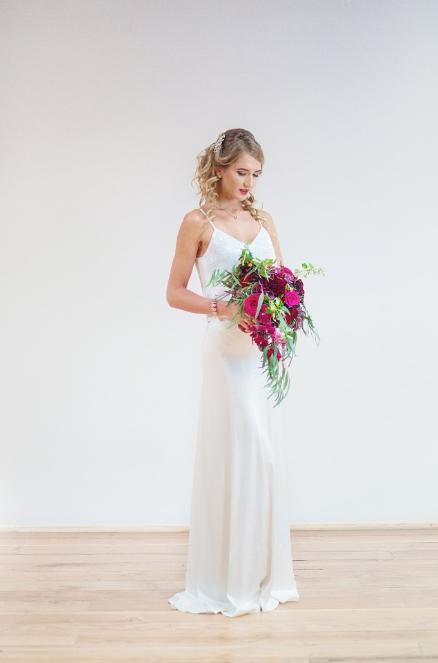 modern and two piece wedding dress from BHLDN