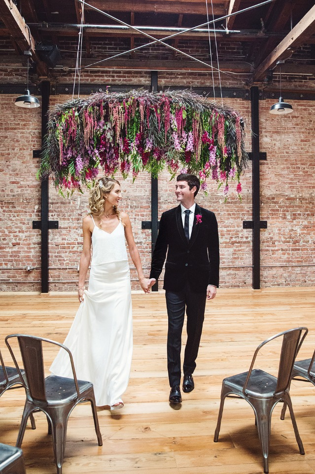 hanging wedding ceremony floral halo