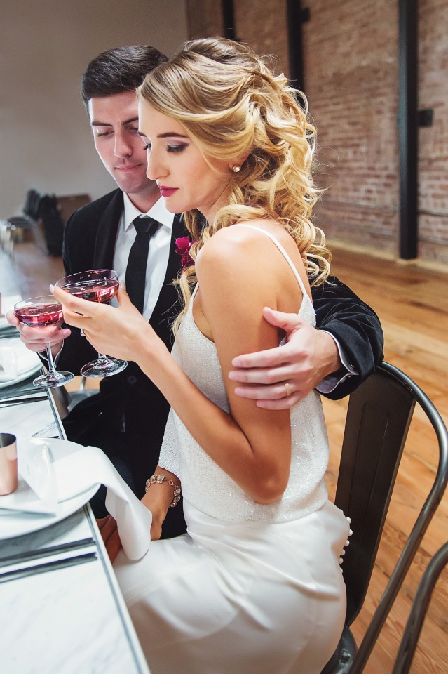 romantic bride and groom photo at cocktail hour