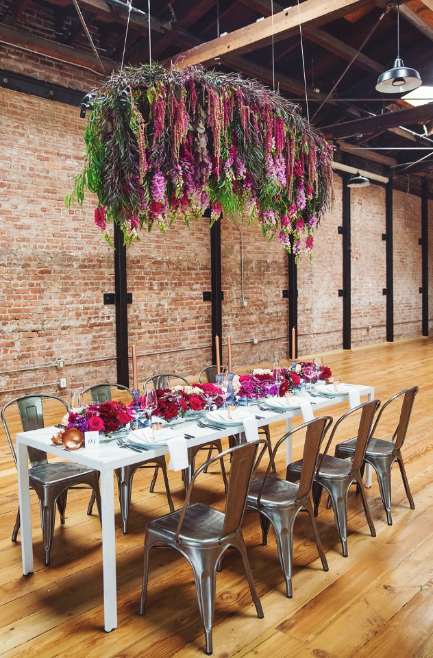 modern and floral accented fall wedding table
