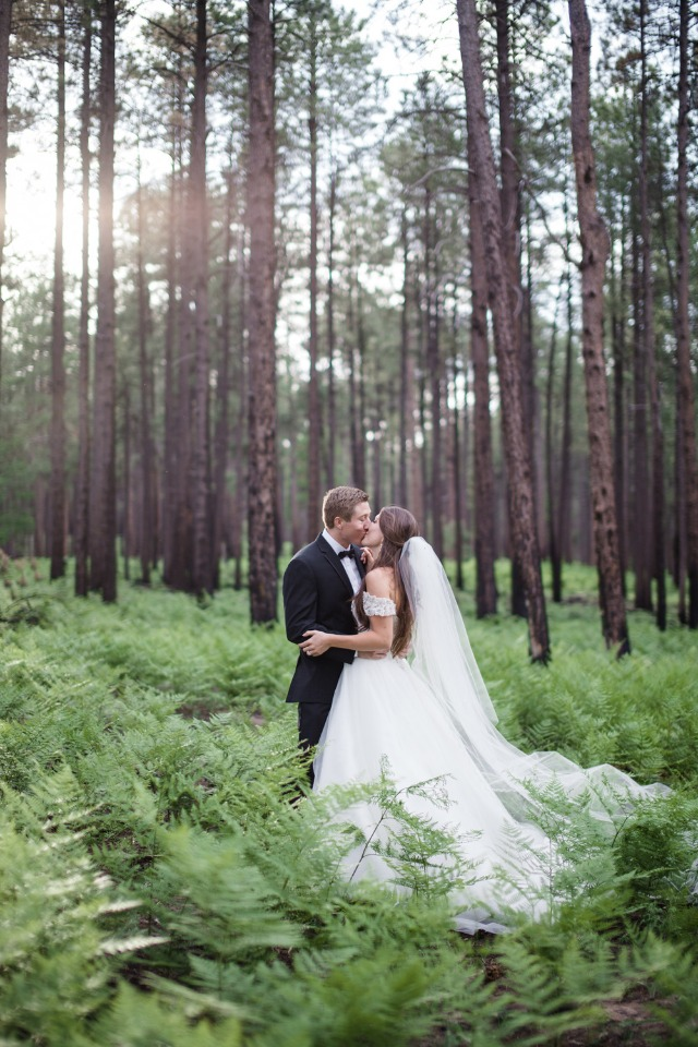 Gorgeous woodland wedding portrait