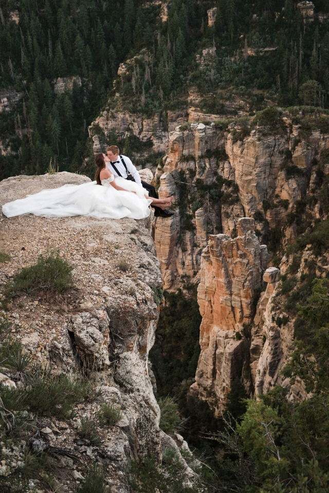 Adventurous wedding portrait idea