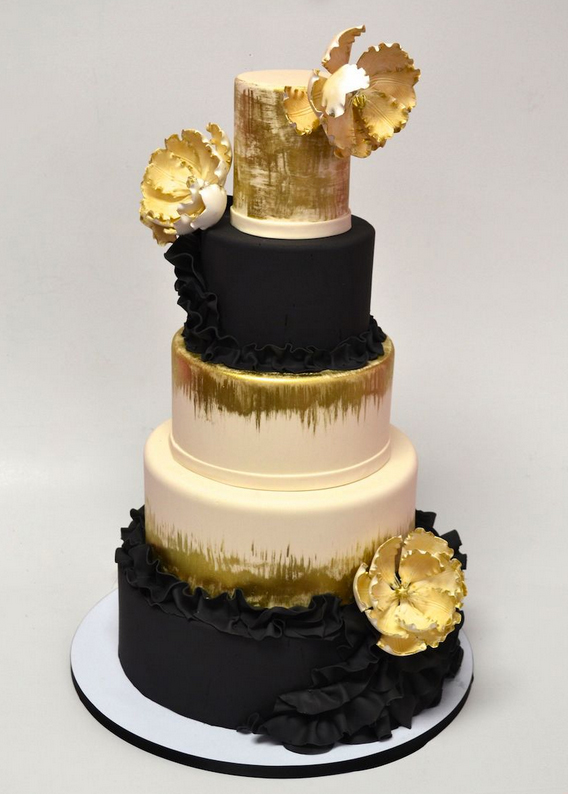 gold and chalkboard cake