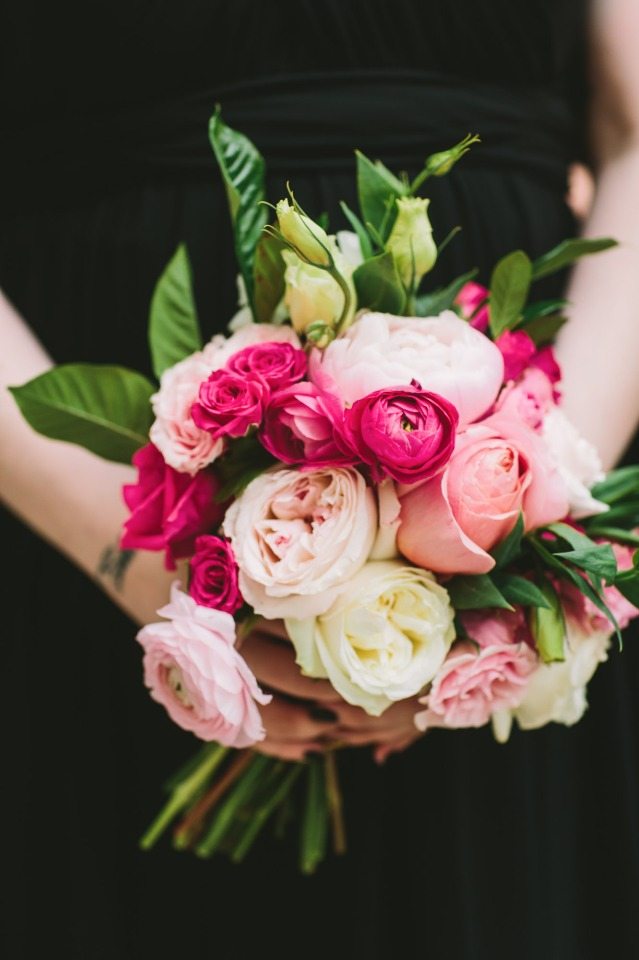 hot pink and soft pink bridesmaid bouquet