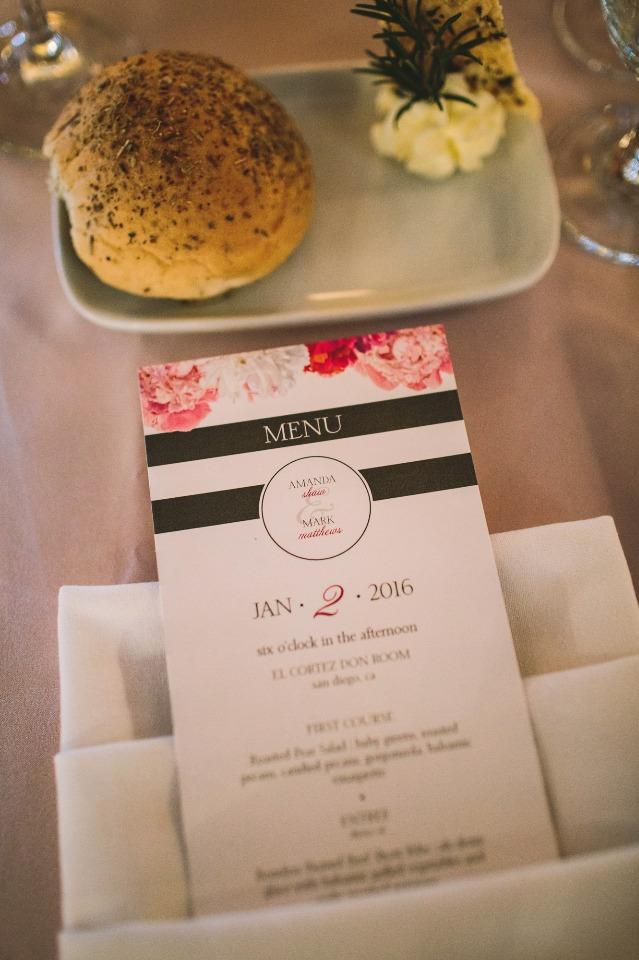 cute modern and chic wedding menu
