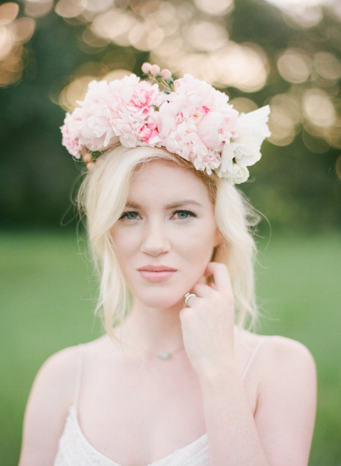 soft pink bridal flower halo