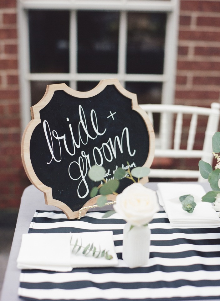 Cute bride and groom sign