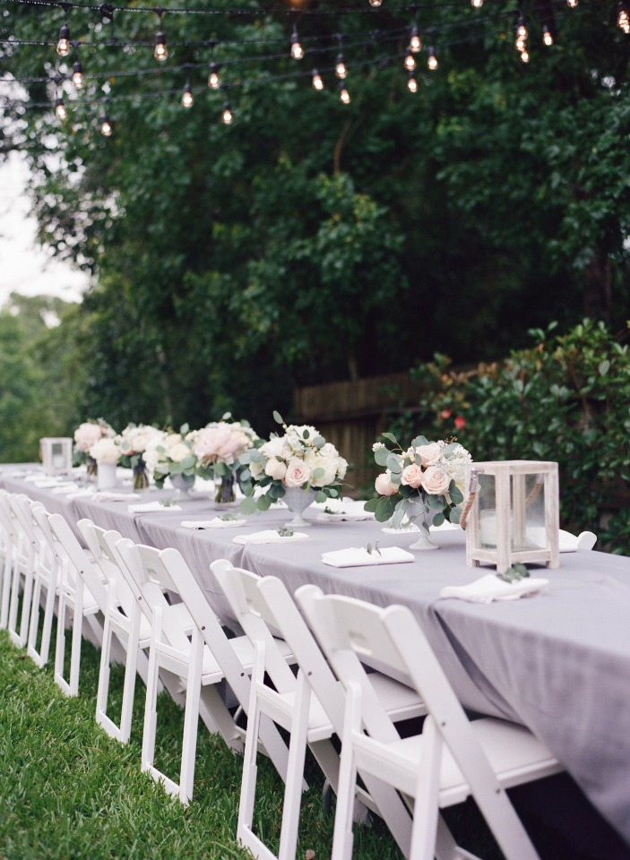 family style wedding seating with white and grey decor