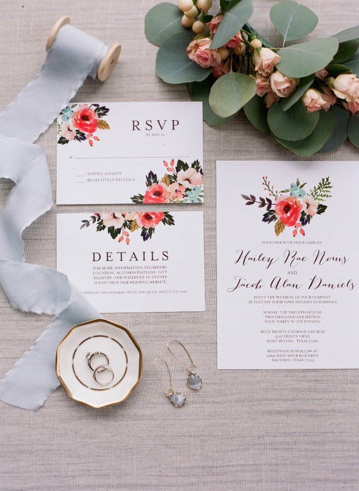 floral accented wedding stationery